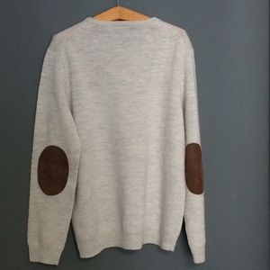 J Crew💯Merino Wool SzXL Slim brown suede patches